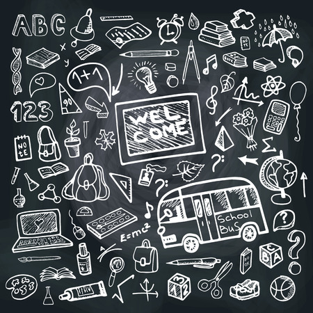 school kit: Back to School Supplies Sketchy chalkboard Doodles with Swirls- Hand-Drawn