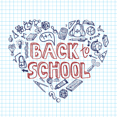 Back to School Supplies Sketchy Notebook Doodles with Lettering and Swirls- Hand-Drawn