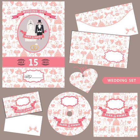 Wedding invitation .Design  template set. Pattern decoration