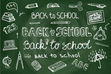 school kit: Back to School Supplies Sketchy chalkboard Doodles lettering with  Swirls- Hand-Drawn.Horizontal Composition.Vector Illustration Design Elements on Lined Sketchbook chalkboard Background