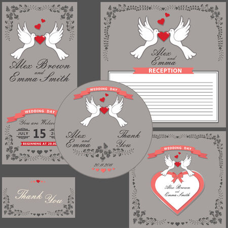 Wedding invitations set in retro style. Floral frame Vector