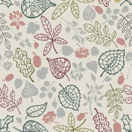 Autumn leaves in seamless pattern . Vector illustration  Vector