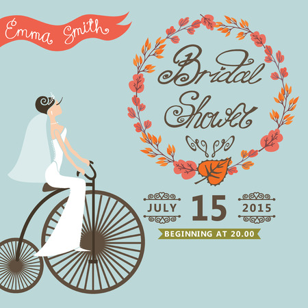 Bridal shower card with  bride on retro bicycle  and autumn wreath.Vintage wedding invitation.Fashion vector Illustration Illustration