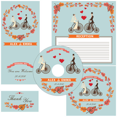 Wedding design template set with cartoon Bride,groom,retro bicycle,autumn leaves elements, ribbon. Vector