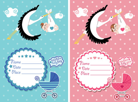 pink and black: Stork  flying with European newborn baby gir and boyl.Baby shower card,invitation  with label,copy space,baby carriage in polka dot background.Vector Illustration.