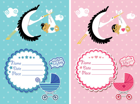 gir: Stork  flying with Asian newborn baby gir and boyl.Baby shower card,invitation  with label,copy space,baby carriage in polka dot background.Vector Illustration. Illustration