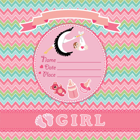 ova: Stork  flying with European newborn baby girl.Baby shower card,invitation  with label,copy space,dummy,Teddy bear,bottle on zigzagt background.Vector Illustration. Illustration