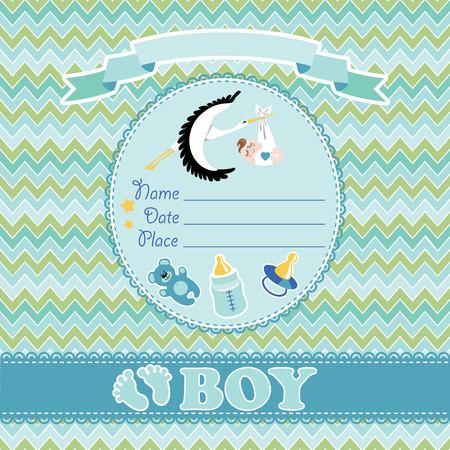 ova: Stork  flying with European newborn baby boy.Baby shower card,invitation  with label,copy space,dummy,Teddy bear,bottle on zigzagt background.Vector Illustration. Illustration