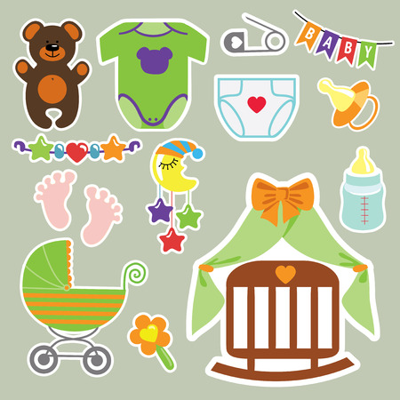 A set of cute cartoon clipart elements for newborn baby.Baby cartoon icons,clipart,scrapbooking elements.Vector illustration Vector