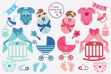 toes: A set of cute cartoon cliparts for newborn baby  boy and girl.Baby cartoon icons,clipart,scrapbooking elements .Twins set.Vector illustration Illustration