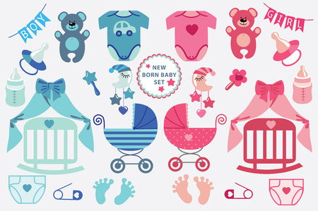 toys clipart: A set of cute cartoon cliparts for newborn baby  boy and girl.Baby cartoon icons,clipart,scrapbooking elements .Vector illustration