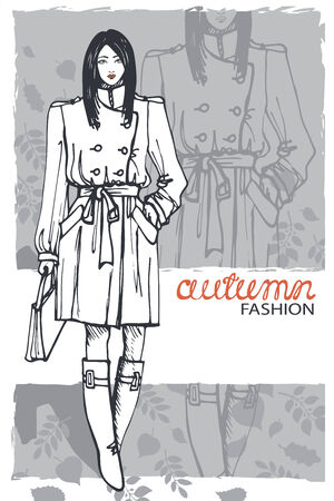 the trench: Fashion girl in sketch style.