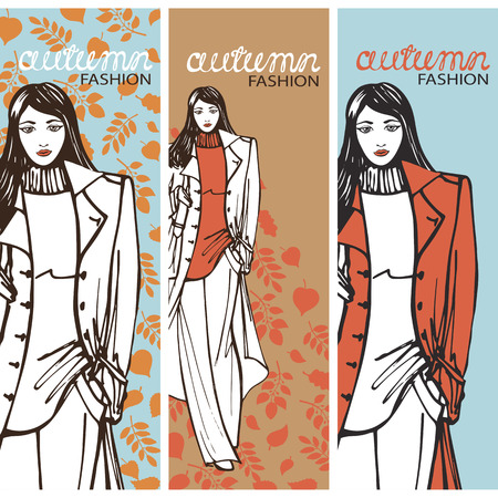 Fashion girl in sketch style. Vector illustration.Graphics Vector