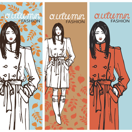 the trench: Fashion girl in sketch style. Vector illustration.Graphics
