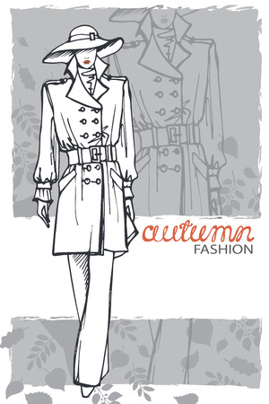 Fashion girl in hat. Sketch style. Vector illustration Vector