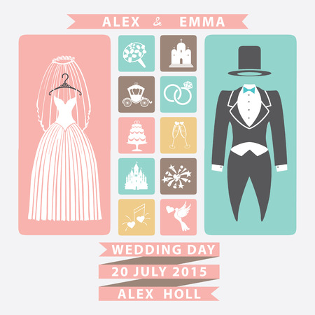 Wedding invitation with Flat icons and wedding clothing Vector