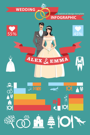 Wedding infographic set. Bride and groom Vector
