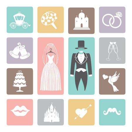 Wedding icons set. Flat icons for web and mobile Vector