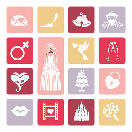Wedding icons set. Flat icons for bride.Bridal shower Vector