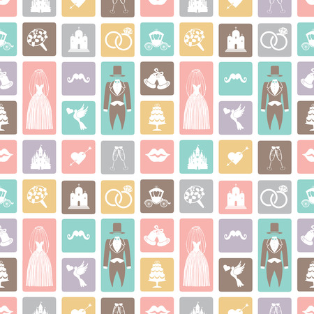 Wedding flat  icons in seamless pattern Vector