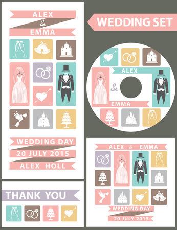 Wedding design template set. Flat icons,wedding wear Vector
