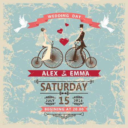 Retro wedding invitation.Bride, groom,decor elements Vector