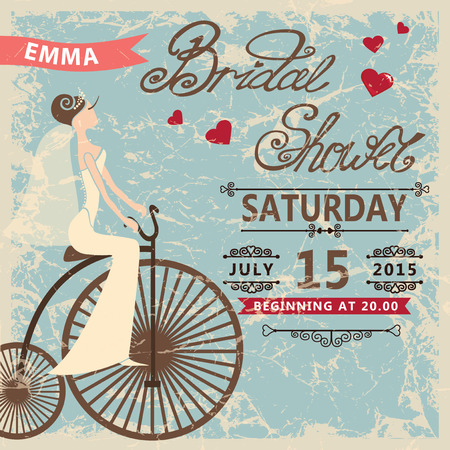 Retro  Bridal shower invitation.Cute cartoon  bride on retro bicycle. Vector