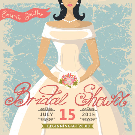 Retro Bridal shower invitation.Cute cartoon  bride in white dress.