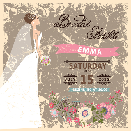 Retro Bridal shower invitation.Cute cartoon  bride in white dress. Vector