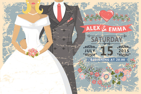 Retro wedding invitation.Cute cartoon couple groom and bride. Vector