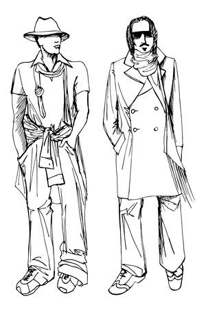 spring coat: Two stylish  men.  Illustration