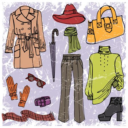 Fashion wear background. Woman clothes set Illustration