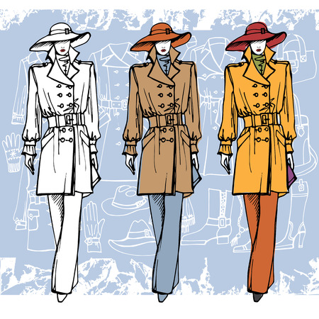 the trench: Fashion illustration in sketch style