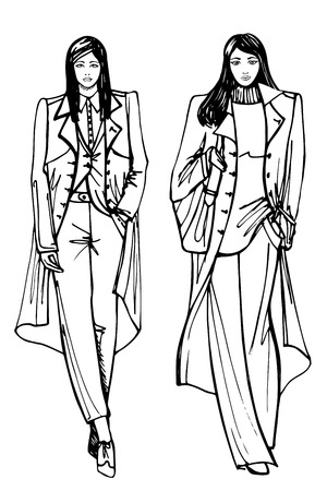 spring coat: Two stylish lovely girls In the style of the outline hand drawing sketch