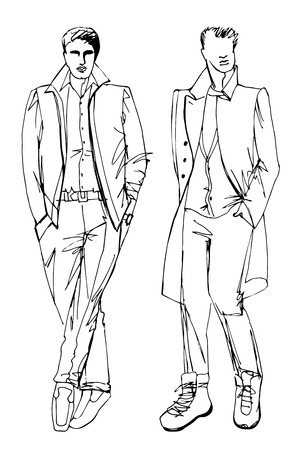 EPS10.Two stylish dude men.In the style of the outline hand drawing  sketch. Fashion vector  illustration