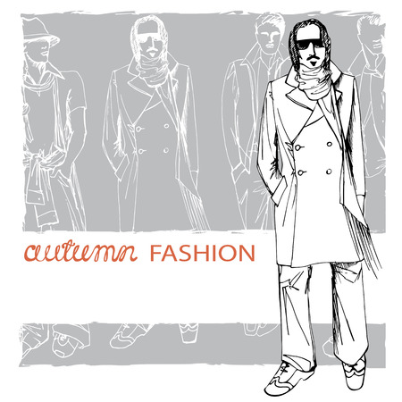 spring coat: EPS10 grunge background with stylish autumnal dude men.In the style of the outline hand drawing  sketch. Fashion vector  illustration Illustration