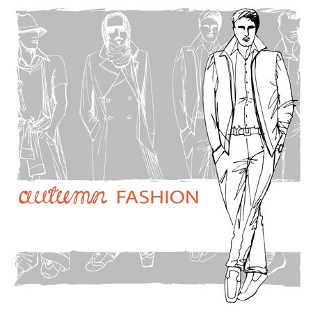 spring coat: EPS10 grunge background with stylish autumnal dude men in hat.In the style of the outline hand drawing  sketch. Fashion vector  illustration