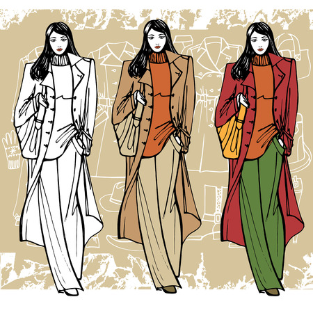 the trench: Fashion illustration in sketch style .Hand drawing sketch model. Lovely girl on Grunge background with Autumn fashion wear. Vector illustration