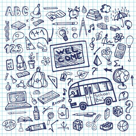 Back to School Supplies Sketchy notepaper.Ink Doodles