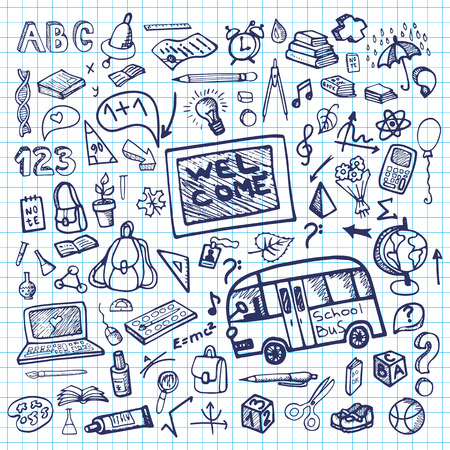 Terug naar school levert schetsmatig notepaper.Ink Doodles
