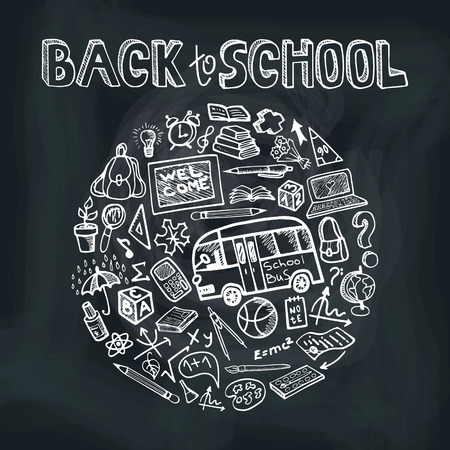 drow: Back to School Supplies Sketchy chalkboard.Circle Doodles