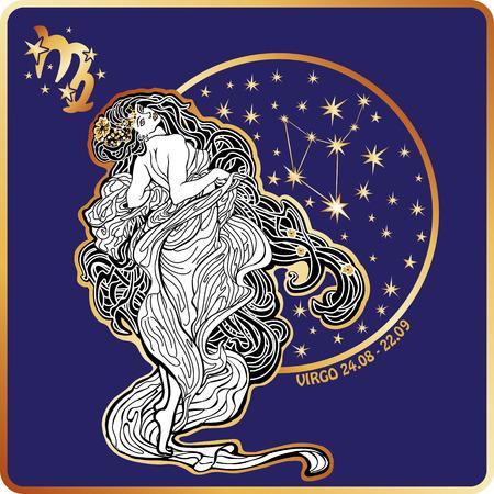 Horoscope.Virgo sterrenbeeld Stock Illustratie