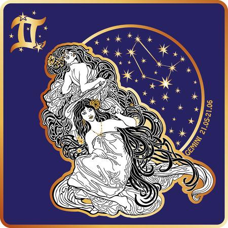 Horoscope.Gemini signo del zodiaco con womans gemelos Ilustración de vector
