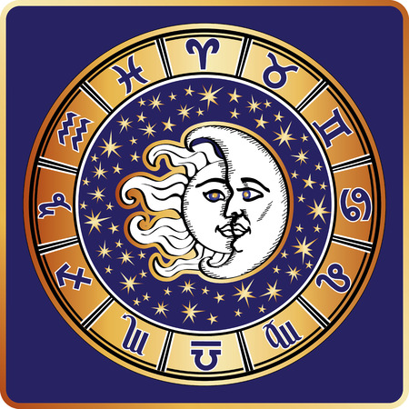 man on the moon: Horoscope circle.All zodiac sign,moon,sun