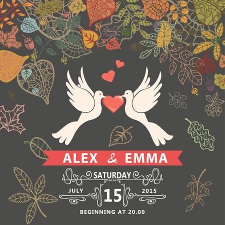 Retro wedding invitation with falling autumn leaves wreath. Cute cartoon couple  white pigeons with swirling border,ribbons.Vector design template Vector