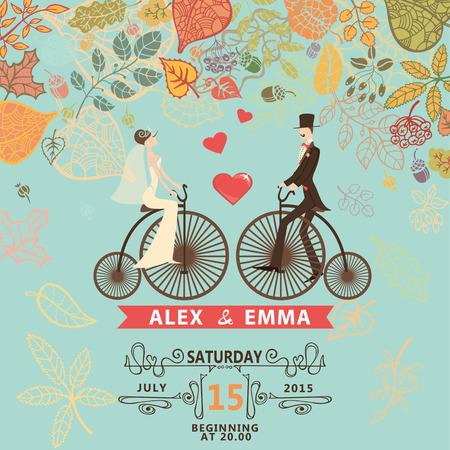 Invitación de boda retro con hojas fallingautumn. Lindo novio pareja de dibujos animados y la novia en bicicleta retro con remolinos de frontera, plantilla de diseño ribbon.Vector Ilustración de vector