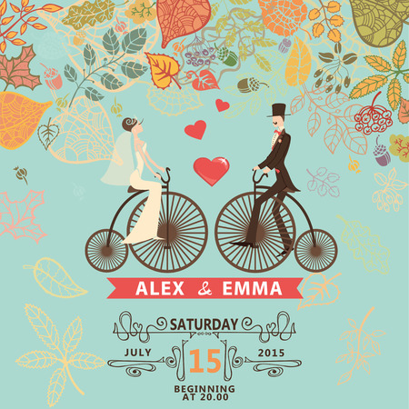Retro wedding invitation with fallingautumn leaves . Cute cartoon couple groom and bride in retro bicycle with swirling border,ribbon.Vector design template