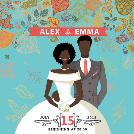 mulatto: Retro wedding invitation with falling autumn leaves wreath. Cute cartoon couple Mulatto  groom and bride in retro style with swirling border.Vector design template