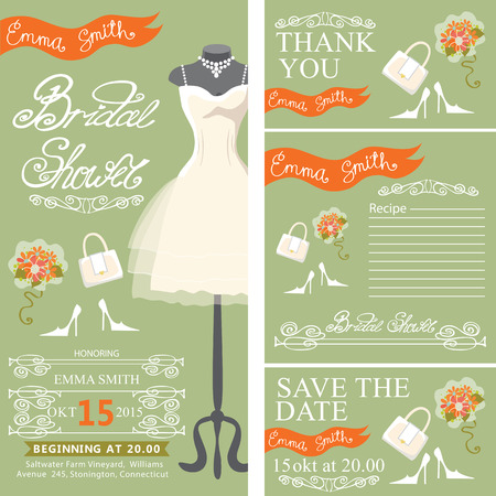green dress: Bridal shower invitation set.Bridal dress and bridal accessories  with hand writing text,orange ribbon,swirling border.Dress put on mannequin.Wedding invitation, cards.Vector