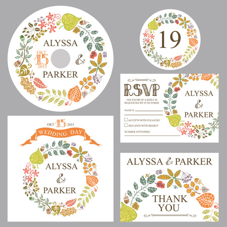 Retro wedding template set with autumn leaves.Vector design template